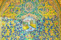 Painéis decorativos persas em Golestan, Tehran Fotografia de Stock Royalty Free