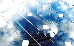 Painéis fotovoltaicos azuis com reflexão do céu nebuloso renderin 3D ilustração do vetor