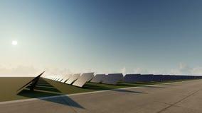 Painéis solares azuis do nascer do sol ilustração stock