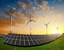 Painéis solares com turbinas eólicas Imagem de Stock Royalty Free
