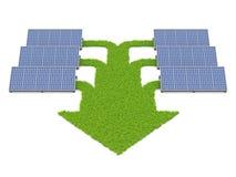 Painéis solares conectados com os trajetos da grama Ilustração do Vetor
