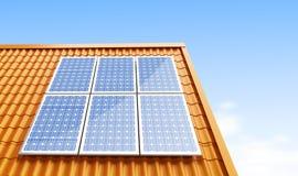 Painéis solares do telhado Fotografia de Stock Royalty Free