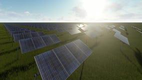 Painéis solares e grama verde ilustração stock
