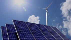 Painéis solares e turbina eólica no dia ensolarado ilustração royalty free