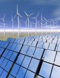 Painéis solares e turbinas de vento no deserto Fotografia de Stock Royalty Free