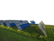 Painéis solares isolados no fundo branco Fotos de Stock Royalty Free