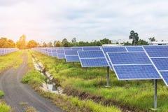 Painéis solares na central elétrica de energias solares Imagem de Stock Royalty Free