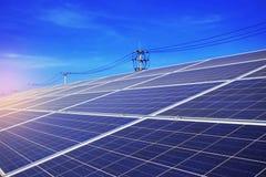 Painéis solares no céu Foto de Stock