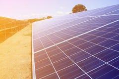 Painéis solares, planta de energias solares Fotografia de Stock Royalty Free