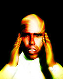Pain 12. A image of a man in terrible expressive pain, possible having a migraine Royalty Free Stock Photos