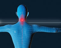 Pain. Frontal image of a mesh of a blue man with pain in neck vector illustration
