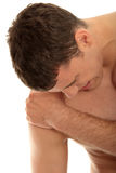Pain. Young man with shoulder pain royalty free stock images