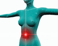Pain 2. Torso of a woman with pain in her stomach royalty free illustration