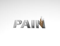 Pain. The word pain and a ladder - 3d illustration Royalty Free Stock Image