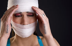 Injured Woman in Serious Pain After Accident Royalty Free Stock Photos