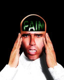 Pain 3. A image of a man in terrible expressive pain, with the word pain in his head Royalty Free Stock Photo