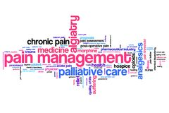 Pain. Management and palliative care issues and concepts word cloud illustration. Word collage concept royalty free illustration