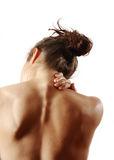 Pain. Person in pain with white background Stock Images