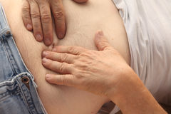 Pain in the abdomen Royalty Free Stock Images