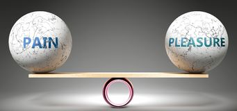 Free Pain And Pleasure In Balance - Pictured As Balanced Balls On Scale That Symbolize Harmony And Equity Between Pain And Pleasure Stock Image - 164600911