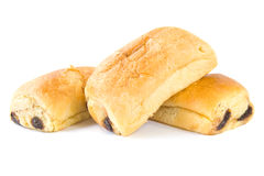 Pain au chocolat. Three Pain Au Chocolat croissants with chocolate isolated on a white background Royalty Free Stock Photography