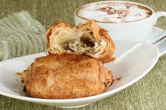 Pain au chocolat. Delicious fresh baked pain au chocolat with coffee Royalty Free Stock Photography