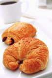 Pain au chocolate and croisant with coffee Stock Photography