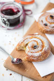 Pain au raisin & coffee Stock Images