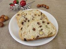 Pain aux noix de raisin sec de Noël Photo stock