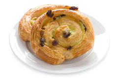 Pain aux raisins. French pastry  on white background Royalty Free Stock Photography