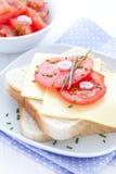 Pain avec du fromage et la tomate photo libre de droits