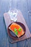 Pain avec le caviar Image libre de droits