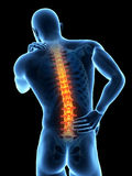 Pain in the back. A man having acute pain in the back Royalty Free Stock Photography