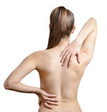 Pain in back. Royalty Free Stock Photo