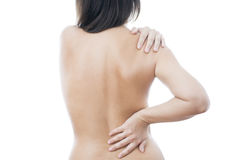 Pain in back of women Royalty Free Stock Images