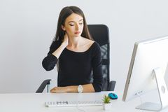 Free Pain. Business Woman Suffering From A Neck Pain From Bad Posture Stock Images - 120402234