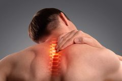 Pain in the cervical spine. Inflammation of the vertebra. Pain in the cervical spine. Symptom of cervical chondrosis. Inflammation of the vertebra. Isolated on a stock images