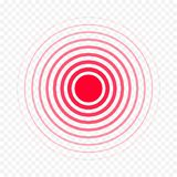 Red circle pain medical painkiller drug ache medicine vector isolated icon. Pain circle red icon for medical painkiller drug medicine. Vector red circles target Royalty Free Stock Image