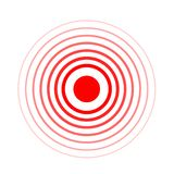 Pain circle red icon for medical painkiller drug medicine. Vector red circles target spot symbol for pill medication. Design template of body or muscular joint vector illustration