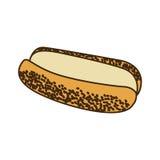 pain coloré de silhouette pour l'icône d'aliments de préparation rapide de hot-dog Illustration Libre de Droits
