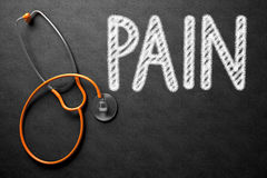 Pain Concept on Chalkboard. 3D Illustration. Royalty Free Stock Images