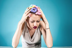 Pain concept. Woman with headache. Royalty Free Stock Photos