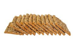 Pain croustillant avec des graines du tournesol, du lin et des graines de sésame d'isolement photo libre de droits