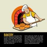 Pain cuit au four par Baker dans le four Pays de rappe de couleur de busines d'Internet de Web de course de planète de la terre d illustration de vecteur
