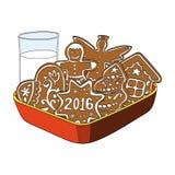 Pain d'épice, biscuits et verre de Noël de lait Photographie stock