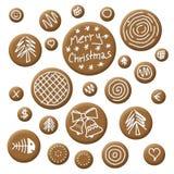 Pain d'épice d'accessoires de Noël Image libre de droits