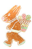 Pain d'épice de lapin de Pâques sur le blanc Photo libre de droits