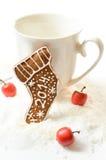 Pain d'épice fait maison de Noël 2014 sur un fond blanc Photos stock