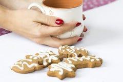 Pain d'épice d'hiver et tasse de thé photo stock