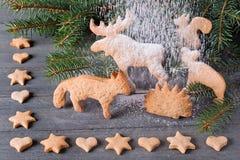 Pain d'épice sous forme d'animaux, étoiles et coeurs À l'arrière-plan des arbres de Noël de brindilles Photos libres de droits